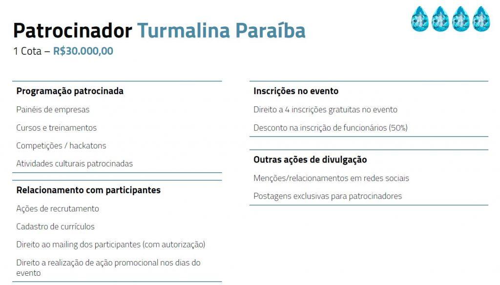 Tabela descritiva dos benefícios para patrocinadores paraiba