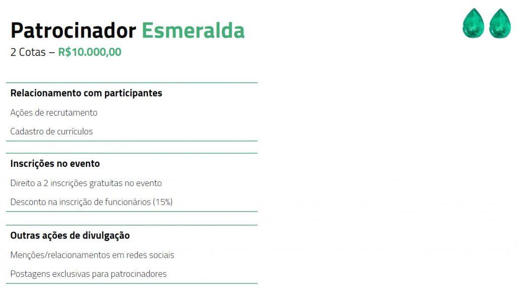 Tabela descritiva dos benefícios para patrocinadores esmeralda