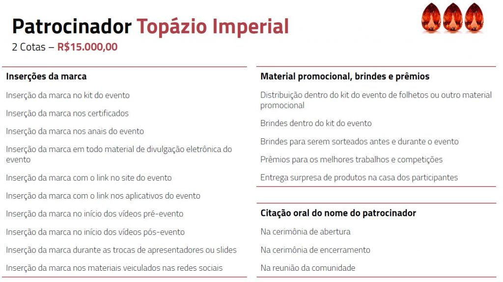 Tabela descritiva dos benefícios para patrocinadores topazio imperial