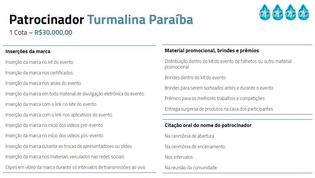 Tabela descritiva dos benefícios para patrocinadores turmalina paraiba