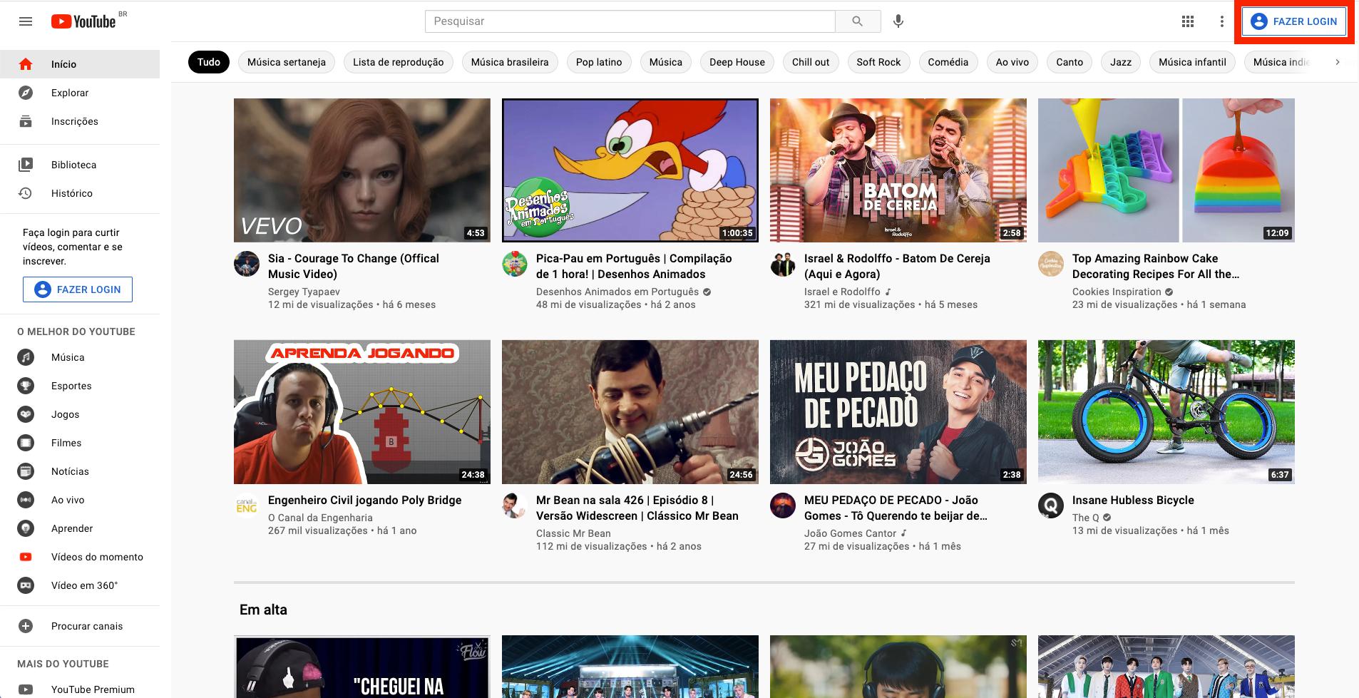 Captura de tela do YouTube. Página inicial com botão 'Fazer login' destacado por uma borda vermelha. O botão está posicionado na área superior direita da tela