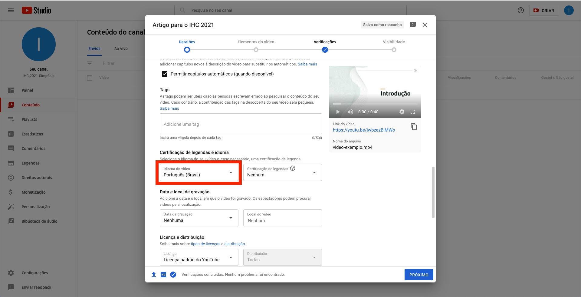 Captura de tela do YouTube. Janela modal contendo campos de formulário que permite a inserção de detalhes do vídeo, com campo 'idioma do vídeo' destacado com uma borda vermelha